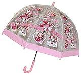 Regenschirm Prinzessin / Märchenschloß / Pferde - Kinderschirm transparent Ø 70 cm - Kinder Stockschirm - für Mädchen Schirm Kinderregenschirm / Glockenschirm Fee Herzen durchsichtig & durchscheinend