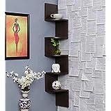 Amazing Shoppee, Zigzag Corner Wall Mount Shelf Unit/Racks and Shelves/Wall Shelf/Book Shelf/Wall Decoration (Walnut Finish, Brown)