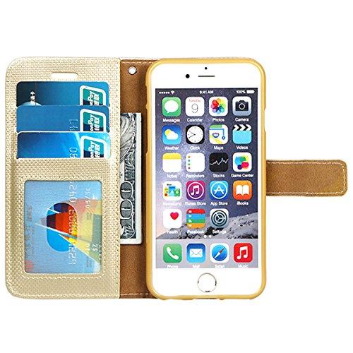 xhorizon Luxus Bling Strass Diamanten Handy Schutzhülle mit Blumentextur aus PU-Leder, Umklappbare Brieftasche-Schutzhülle mit Kartensteckplätzen für iPhone 6 Plus / iPhone 6S Plus (Stift in Feder Sti Gold