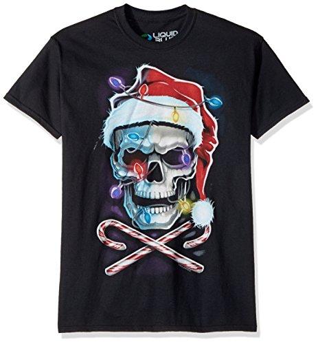 Liquid Blue Herren T-Shirt mit Totenkopf-Motiv und gekreuzten Stangen - Schwarz - XX-Large