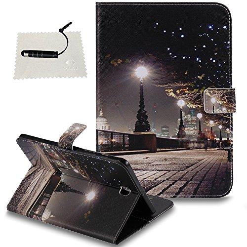 TOCASO SchutzHülle für Samsung Galaxy Tab S2 8.0 (T715) Hülle Weich Case Design Hand Strap Brieftasche Handyhülle Ständer Klapphülle -Stadtlandschaft