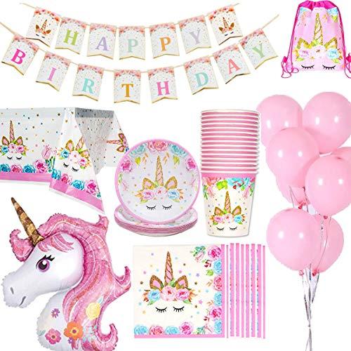 Jolily Unicornio Decoraciones cumpleaños Suministros Vajilla 16 Personas 1...