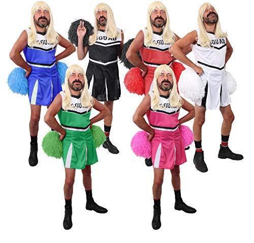ILOVEFANCYDRESS JUNGESELLENABSCHIED+Polterabend Herren Cheerleader KOSTÜM VERKLEIDUNG MIT PERÜCKE+MIT+OHNE PUSCHEL LUSTIG (Fußball Fancy Dress Kostüm)