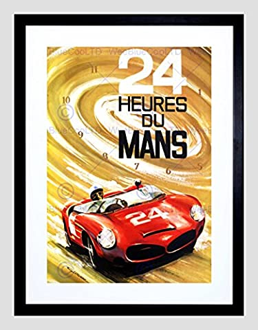 ADVERT 24 HEURES DU MANS RACING CAR AUTOMOBILE CLASSIC FRAMED ART PRINT B12X5461