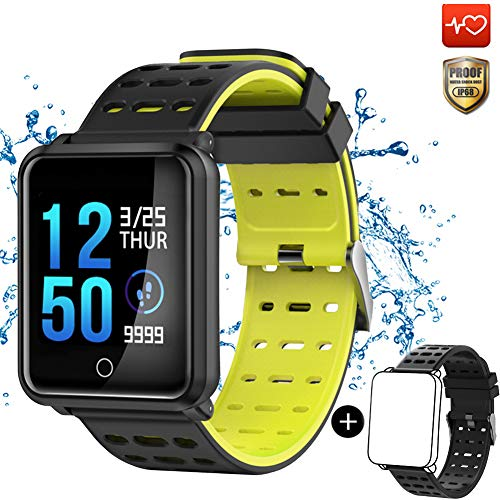 CanMixs Smart Watch CM05 IP68 wasserdichtes Touchscreen-Armband Fitness-Tracker-Armband Aktivitäts-Tracker mit Herzfrequenz-Monitor Schlaf-Monitor-Pedometer iOS Android (Gelb)