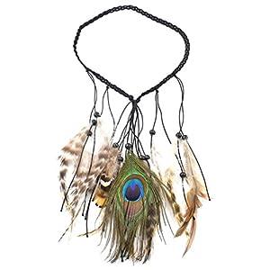 Blesiya verstellbare Länge Pfau & Feder Form Quasten Kopfband Pfauenfeder Kopfkette Ethnic Kopf Schmuck
