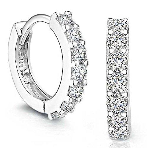 Vovotrade® 925 Sterling Silver Strass cerchio diamante Orecchini per le donne