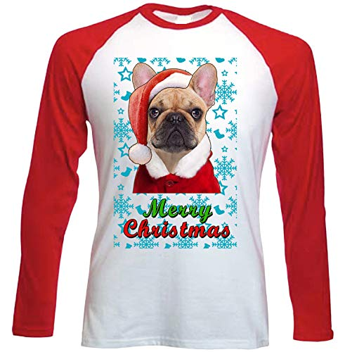 teesquare1st French Bulldog Santa Snow Camiseta DE Mangas ROJA LARGAS T-Shirt...