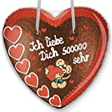Lebkuchenherz 50cm mit Spruch - Ich liebe Dich sooooo sehr | Valentinsgeschenke für sie & ihn | Riesen Lebkuchenherz mit Liebesbeweis Sprüche | Lebkuchenherzen online bestellen von LEBKUCHEN WELT