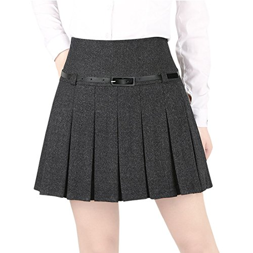 Wincolor Damen A-linie Flared Plissee Woolen Mini Rock mit Gürtel (Knee-length Flare Skirt)