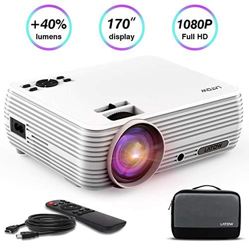Full HD Beamer, LATOW X8 Mini 1080P Viedeo Projektor mit Tasche, 2200 ANSI-Lumen 2000: 1 Kontrastrate LCD 170 Zoll Großes Bild Tragbare Heimkino Multimedia Unterstützung HDMI TF VGA AV USB für Smartphone Laptop Fernseher, Inkl HDMI und AV Kabel, Weiß