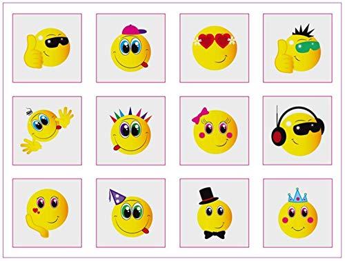 Jungen Smiley-gesicht (Party Accessories Mini-Tattoos mit Smiley-Gesicht, für Jungen und Mädchen, 12 Stück)