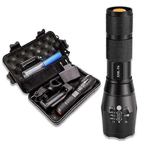 Öuesen LED Taschenlampe, XML-T6 3000 Lumen Wasserdichte Eingebaute Batterie Wiederaufladbare Skalierbar Taschenlampen mit 5 Lichtmodi Extrem Hell für Draussen Wandern Camping[Energieklasse A+++]