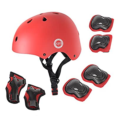 XJD Kids Protective Gear Set, Kid's Skateboard Helmet Set, Knee Pads Elbow Pads Wrist Guards and Adjustable Helmet Use for BMX Scooter Cycling Roller Skating Age Guide 3-8 years old Boys Girls by XJD