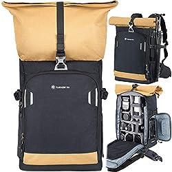 TARION Pro XP Sac à Dos pour Appareil Photo Grande Capacité Antivol Sac Photo Résistant à l'Eau pour 2 Caméras 9 Lentilles Ordinateur 15 Pouces Trépied Accessoire etc. Jaune