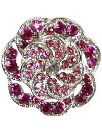 Diseño Vintage fucsia rosa y plateado bufanda Clip con caja de regalo