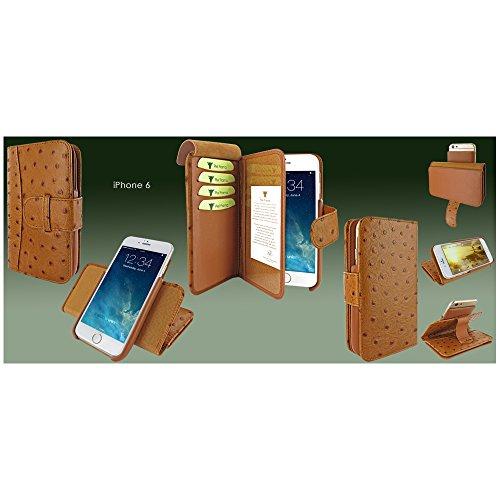 Piel Frama 678COM Etui Portefeuille pour iPhone 6 Effet Crocodile Marron Ostrich Tan