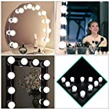 Gerhannery Hollywood Style LED Dimmable Vanity Mirror Light Bulb Kit, Lighting Fixture Strip for Makeup Dressing Table Set, 10 LED / 13.5ft, Mirror Not Included [Energy Class A+++]