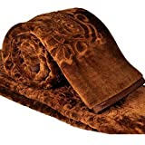 Cloth Fusion Winter Soft Double Bed Mink Floral Blanket With Bag - Chocolate Brown