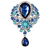 Contever® Vintage Jewellery Teardrop Brooch Pendant Pin Crystal Rhinestone Large Flower Brooch
