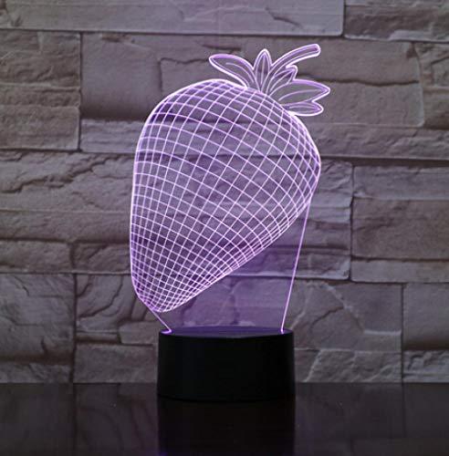 Joplc Wohnkultur Geschenke Erdbeere Modellierung 3D LED Tischleuchte Touch Button Obst Usb Nachtlichter (Obst-ideen Halloween Für)