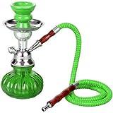 Mini Shisha Pipa de Agua viaje 24 cm verde con 1 manguera + plato + accesorios