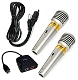Premium KARAOKE Set: 2x Mikrofone + 1x Singstar USB Adapter - für PS2 / PS3 / Wii / XBOX / PC