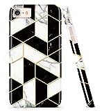 DOUJIAZ Coque pour iPhone 7, iPhone 8, Motif marbre - Anti-Rayures et Traces de Doigts - Mince et antidérapante en Silicone Rigide pour iPhone 7/iPhone 8 - Sourire Black Grid
