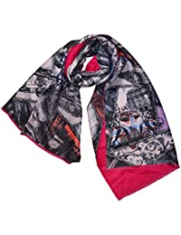 KGM Accessories Double Couche Design imprimé Patchwork Liberty Rouge London  Paris Roma Écharpe Châle – pour bce204a23e5