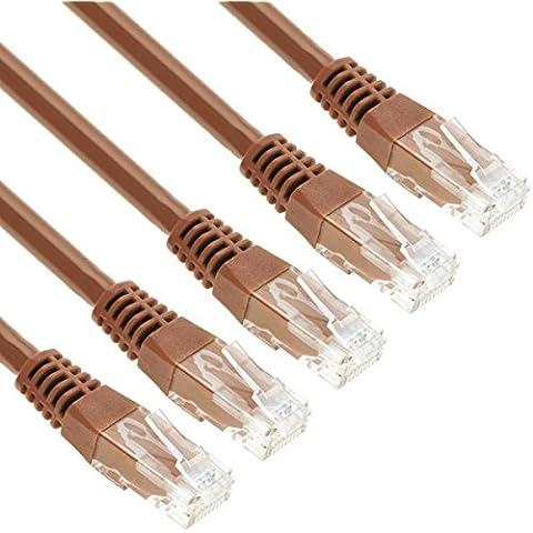 GizzmoHeaven 5 Pack 1 Metro Marrone Cavo di Rete Ethernet Cat5e Alta Velocità RJ45 LAN Patch fili per casa e ufficio in rete - Confezione da 5
