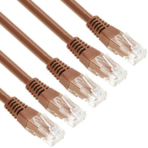 GizzmoHeaven 5 Pack 0,5 Metro Marrone Cavo di Rete Ethernet Cat5e Alta Velocità RJ45 LAN Patch fili per casa e ufficio in rete - Confezione da 5
