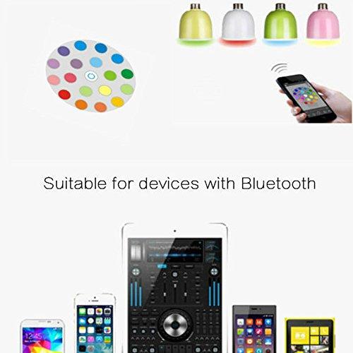 Lampadina Bluetooth Musica, Tkstar LED/RGB Lampada Intelligente E27, 6W Luce della Sera RGB / Audio Mini integrato Altoparlante + Luci Multicolore per Festa,Casa- compatibile iPhone, iPad, Android Tel Bianco