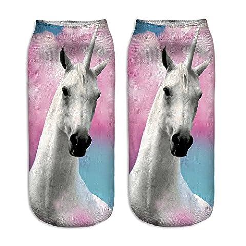 Jysport Chaussettes basses en coton avec imprimé Motif licorne, 3D big unicorn
