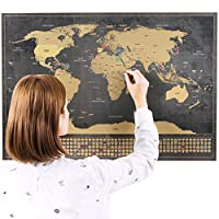 Scratchable World Map with Flags XXL + BONUS A4 Size Map of the UK! - Personalised Travel Tracker Poster - Remember and Share Your Adventures | Unique Design by ENNO VATTI (Black | 84 x 58 cm) ...