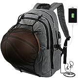Vbiger Laptop Rucksack Multifunktionale Schule Schultertasche Reise Tagesrucksack Sportrucksäcke mit Basketball Netz 15.6'' Zoll
