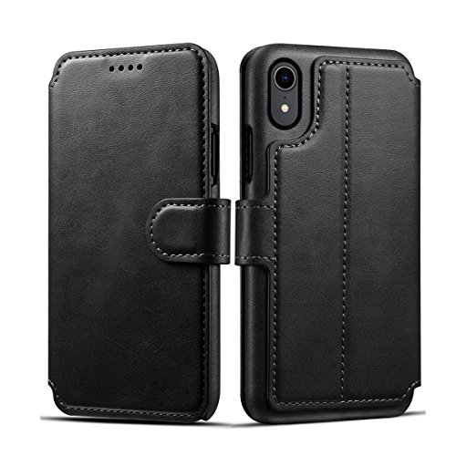 Caseforyou iPhone 9 hülle, [Portable Wallet ] [ Schmale Passform ] Heavy Duty schützend Accessory Flip Case Brieftasche Fall for iPhone 9 - Schwarz