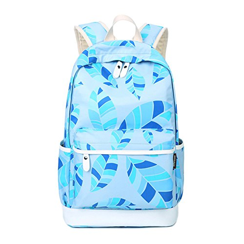 Jugend Light Blue Kinder Schuhe (Blätter gedruckt Casual Canvas Rucksack Schultasche Laptop Tasche Rucksack für Jugendlich Junge Mädchen)