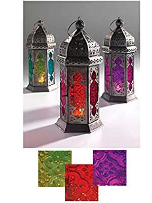 Moroccan style Large tonal glass lantern 3 shades Fair Trade