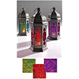 Mini farol de estilo marroquí con cristales de colores, 3 colores disponibles