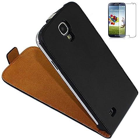ebestStar - pour Samsung Galaxy S4 i9500 i9505 - Housse Coque Etui à rabat PU cuir ULTRA FIN (ultra slim case), Couleur Noir [Dimensions PRECISES de votre appareil : 136.6 x 69.8 x 7.9 mm, écran 5'']