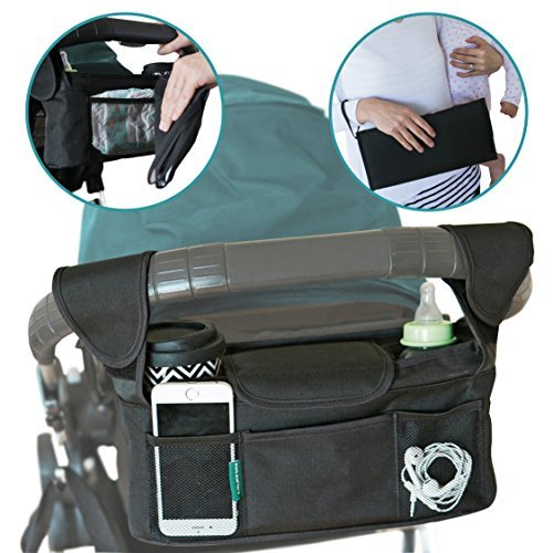 Universal Stroller Organizer With Portable Changing Pad and BONUS Stroller Hooks. Handlebar Console With Universal Fit for Single Prams. Increase Storage Capacity With The Best Stroller Organizer