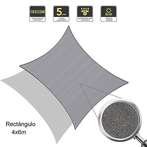 Sunnylaxx Voile d'ombrage rectangulaire 4 x 6 mètres HDPE UV Protection pour Jardin terrasse, Couleur Graphite