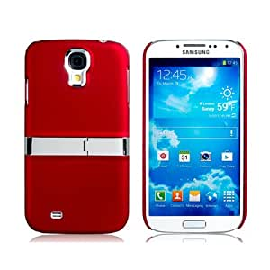 Plated Matte Plastic Case with Stand for Samsung Galaxy S4/ I9500 (Red)