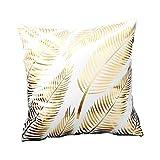 BIGBOBA Modello Forma di Foglia D'oro Federe Cuscini Divano di Cotone Divano Letto Home Bed Decor,bianco, 45 * 45cm
