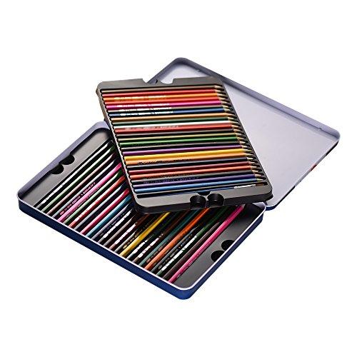 KKmoon 48 Farben Wasserlöslich Buntstifte Set mit Bürste Metall Box, Vor Geschärft Farbestifte...