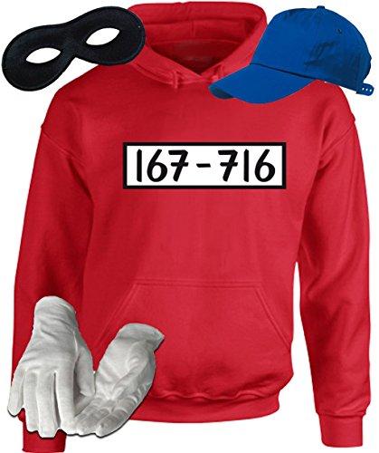 Kostüm Set für Panzerknacker Fans Karneval JGA Herren Hoodie+Cap+Handschuhe+Maske, Größe: (Lustige Kostüme Witzige)