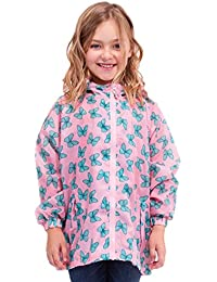 Childrens/Girls Rainwear Waterproof Long Sleeve Rain Jacket with Butterfly Print, Various Colours & Sizes