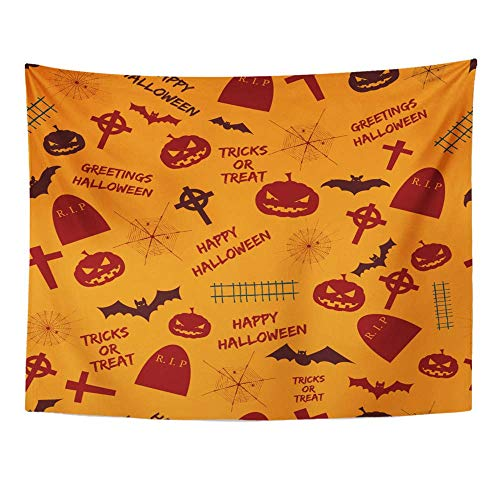 ique Design Wonderful Prints Tapestry Home Decor Greetings Halloween Abstract Holiday Symbols and Text Tricks Treat on Orange Wall Hanging 60x80 Inches ()
