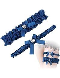 9c817dbc4201d MWOOT Doppia Giarrettiera Sposa Blu, Giarrettiera Elasticizzata Accessori  per Abiti da Sposa Regalo della Festa