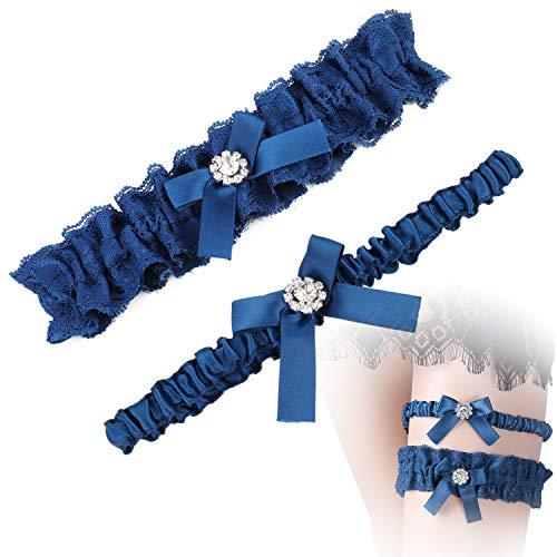 Mwoot doppia giarrettiera sposa blu, giarrettiera elasticizzata accessori per abiti da sposa regalo della festa nuziale della sposa